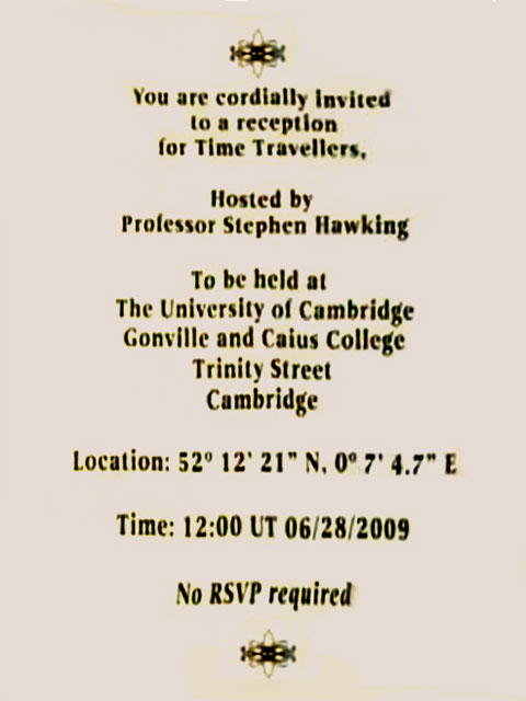 time travel invite